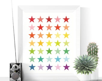 Bright Stars Printable Art | Stars Print | Modern Art | Minimalist Printable | Colourful Print | Colorful Art