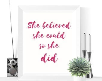 50% OFF Sale- She Believed She Could So She Did Printable | Pink Yarrow | Art | Print | Inspirational Quote | Typographic | 2017 Color Trend