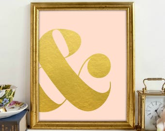 Gold Pink Ampersand Print, Pink Gold Print, Girls Bedroom, Gold Lettering, Wall Art, Printable Art, Printable Wall Décor, Instant Download