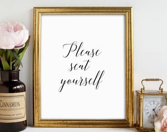 Funny Bathroom Art, Please Seat Yourself, Bathroom Wall Art, Bathroom Decor, Toilet Funny Art, Printable Art, Bathroom Sign, Gift for Her