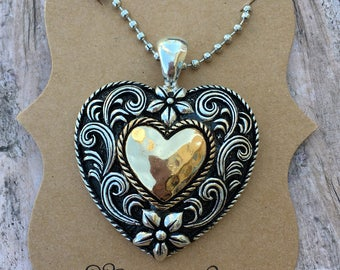 Heart Pendant necklace, heart silver and gold necklace, ball chain necklace,