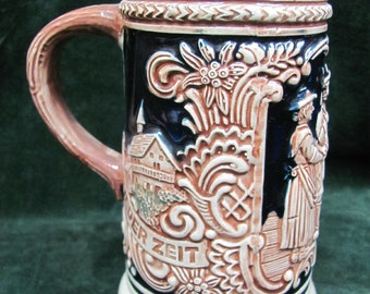 Small Blue and Brown Gerzit German Beer Stein