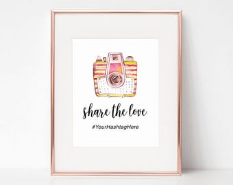 Share the Love, 8x10 Digital Download, Watercolor Camera, Hashtag, Wedding Art, Arbor Grace Collections