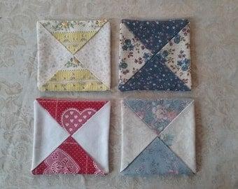 Cloth Coasters, Mug Rugs, Set of 4