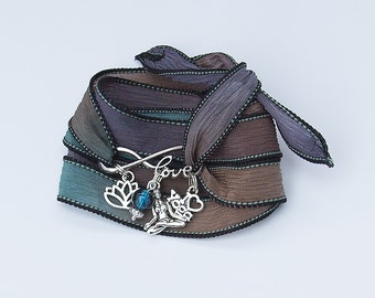 Boho Yoga Wrap Bracelet Silk Ribbon//Charms//Bead//Hippie//Festival #06