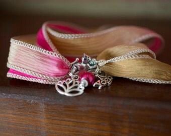 Boho Yoga Wrap Bracelet Silk Ribbon//Charms//Bead//Hippie//Festival #09