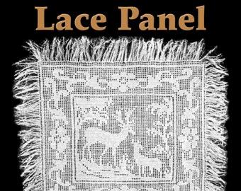 Two Deer Lace Panel Filet Crochet Pattern