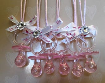 Pink Baby Shower Pacifier Keepsake Necklace for Games (24pcs) for Girls