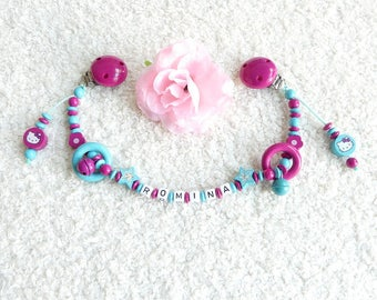 Stroller chain Hello Kitty pink turquoise