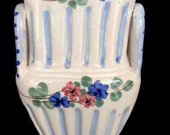 Italian Mojolica Vase- Blue & White- Floral Dedign