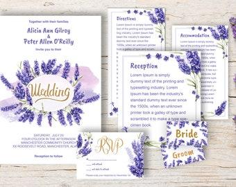 Lavender purple wedding invitation template download watercolor