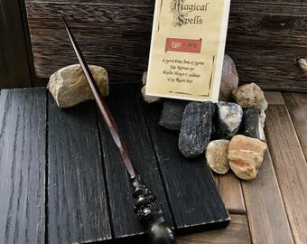 Harry Potter inspired Wand and Pocket Spell Book - This Wand is 9 3/4 Inches Long and has a beveled wood core