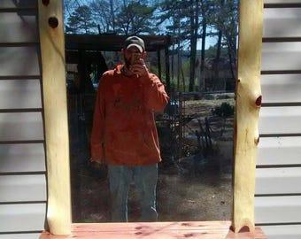 Cedar log frame mirror