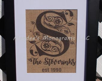 Burlap Monogram Print, Great Mothers Day Gift, Wedding Gift, Anniversary Gift