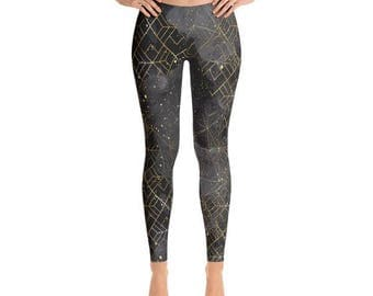 Galaxy Leggings, Printed Leggings, Black Leggings, Fashion Leggings, Geometric Leggings, Womens Leggings, Yoga Leggings, Workout Leggings,