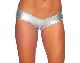 Womens Foil Scrunch Back Booty Shorts, Micro Shorts, Silver Bikini Bottoms, Buy Scrunch back bottoms, micro booty shorts, go-go dancer short