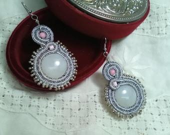 Soutache earrings for lady, party earrings, bridesmaid earrings, party earrings, Silk. Valentine's Day Gift