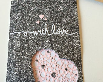 Greeting card-  craft- handmade- Lovely hearts!