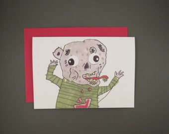 Zombie Cartoon Note Card
