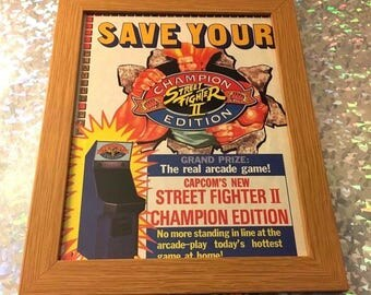 Street Fighter II 2 Champion Edition Original 90s Print Ad Sega Genesis Framed RARE