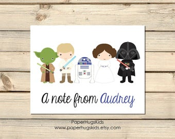 Space stationery, Space Note Cards, Personalized Note Cards, Kids Thank You Cards, Personalized Stationery, Star Wars Note Cards / Digital