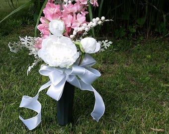 SALE!!  Cemetery flowers, Grave flowers, Artificial, Pink arrangements, Weather proof