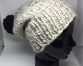 Oatmeal extra thick winter hat with a big black pompom