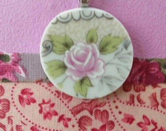 Pink Rose Broken china pendant. Silver bail and chain.