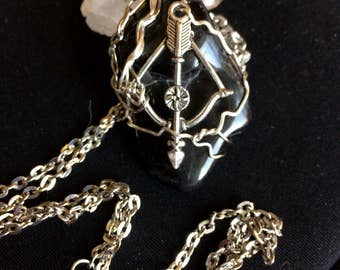 Black onyx with bow and arrow Wire Wrapped rap