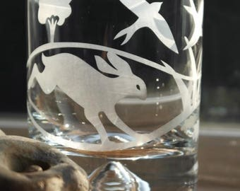 Hand Etched Tumbler - Hare