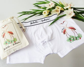 Love Birds, Flamingo, Personalised Men's Boxer Briefs