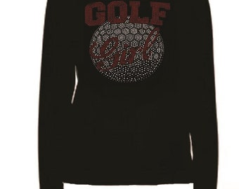 Rhinestone Golf Girl Red And Crystal  Lightweight T-Shirt    or  DIY Iron On Transfer                        golf girl