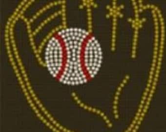 Baseball Softball Glove Rhinestone Iron On Transfer           U0L3