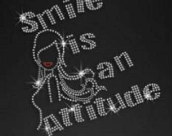 Rhinestone Smile Is An Attitude Lightweight Ladies T-Shirt  or DIY Iron On Transfer       HYP7
