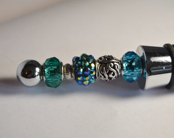 Handcrafted Beaded Disco Blue Wine Stopper Cork FREE SHIPPING