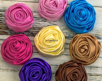 5cm 20colors Handmade Rolled Soft Satin Rose Flowers For Hair Clips Accessories Artifcial Solid DIY Fabric Flowers For DIY Headbands
