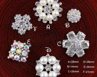 Free Shipping Clear Alloy Crystal Flatback Buttons for Baby Girls Hair Accessories/Ornaments Bling Metal Rhinestone Buttons