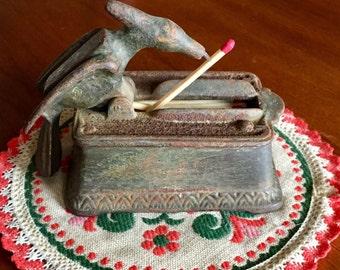 Antique Cast Iron Mechanical Bird Match Holder / Matchstick Dispenser