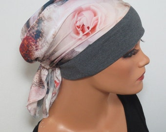 Head scarf Hat/CHEMO Hat grey colorful fashionable useful for chemotherapy hair loss alopecia instead wig
