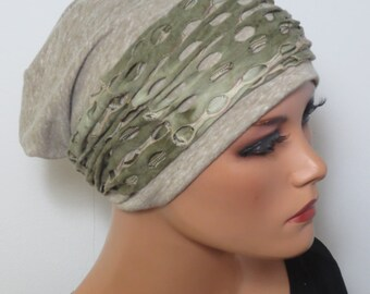 Cool BEANIE/Hat + headband beig Heather light and airy light grey Heather fashionable practically easy turban