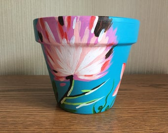 Hand-painted 6 inch flower pot, Pink and White Flower