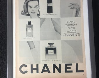 1961 Original Vintage Chanel magazine ad