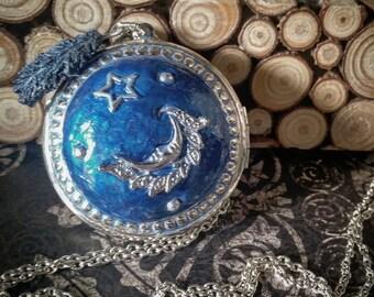 Silver Moon Locket , Blue Locket , Star Locket , Night Locket , Chain Locket,  Polymer Clay Locket , Silver Locket , Feather Locket Necklace