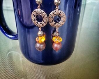Boho sunset brass earrings