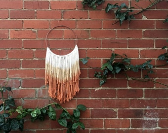 Macrame wall hanging neutral orange to beige dyed 100% cotton