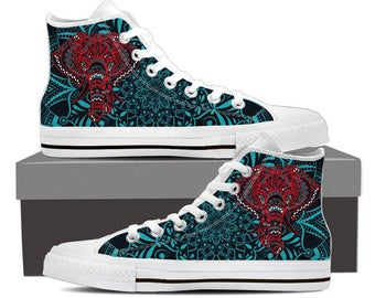 Elephant Canvas Printed Hi Top Sneakers Animal Shoes Mandala High Top Zen Design Shoes Custom Printed Shoes