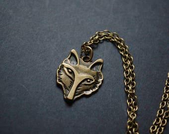 Bronze tone fox face necklace