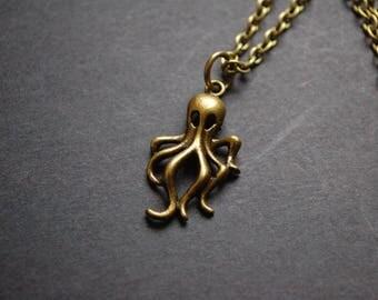 Bronze tone octopus necklace