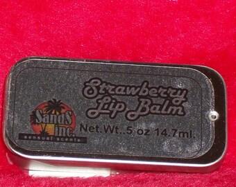 Strawberry Lip Balm in a sliding tin