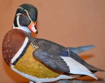 Wood duck, Father's Day, Dad, original woodcarving, waterfowl, birds, ducks, decoys, handicraft